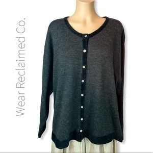 PREMIER COLLECTION Charcoal Sweater Cardigan - 1X